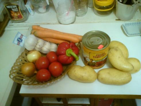 מצרכים למרק עגבניות ועדשים כתומות